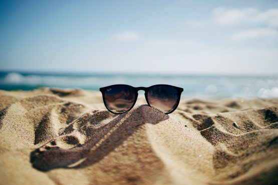beach and sunglasses